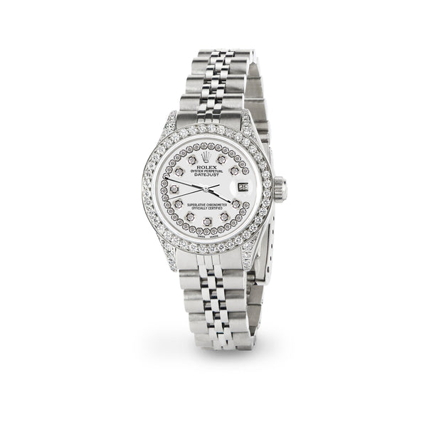 Rolex Datejust 26mm Steel Jubilee Diamond Watch with Ivory Dial