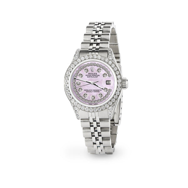 Rolex Datejust 26mm Steel Jubilee Diamond Watch with Pink Pearl Dial