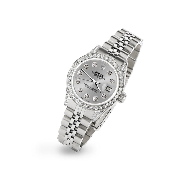 Rolex Datejust 26mm Steel Jubilee Diamond Watch with Silver Dial