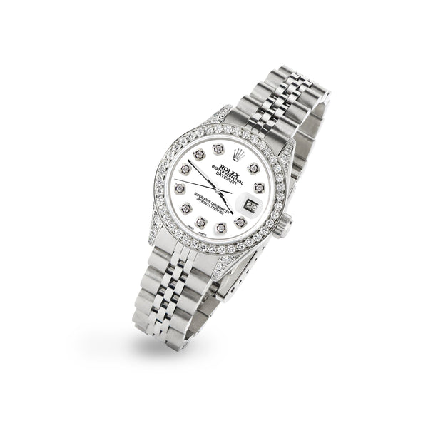 Rolex Datejust 26mm Steel Jubilee Diamond Watch with White Dial