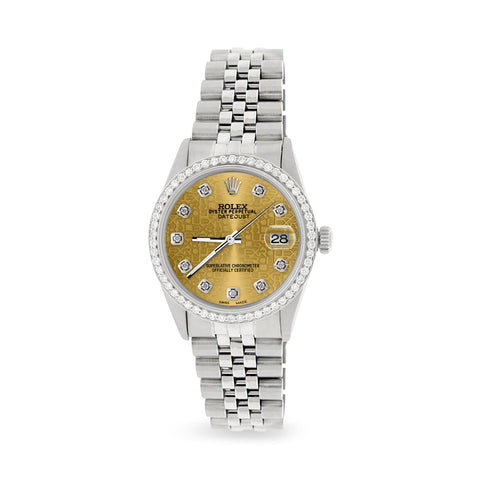 Rolex Datejust Steel 36mm Jubilee Watch/1.1CT Diamond Champagne Diamond Dial