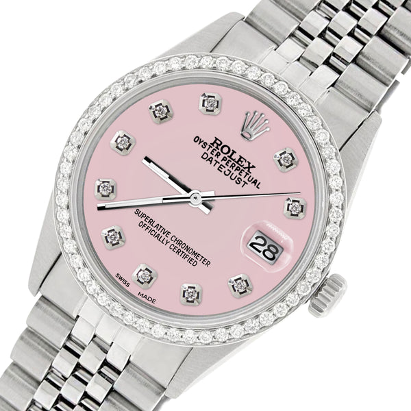 Rolex Datejust Steel 36mm Jubilee Watch/1.1CT Diamond Orchid Pink Dial