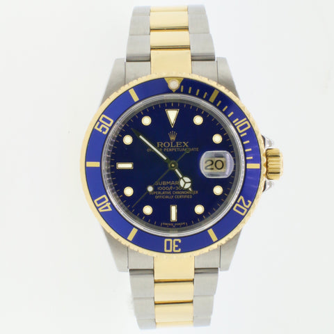 Rolex Submariner 2-Tone Blue Bezel/Dial Mens 40mm Watch 16613