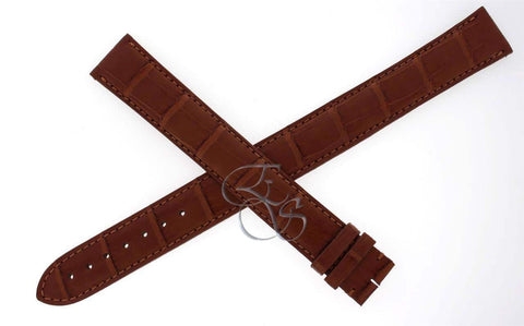 Cartier Alligator Leather Brown/Gold 20mm EXTRA LONG Watch Strap Band KD98ZK12