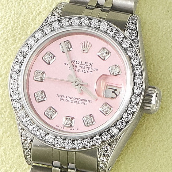 Rolex Datejust 26mm Steel Jubilee Diamond Watch w/Vibrant Pink Dial