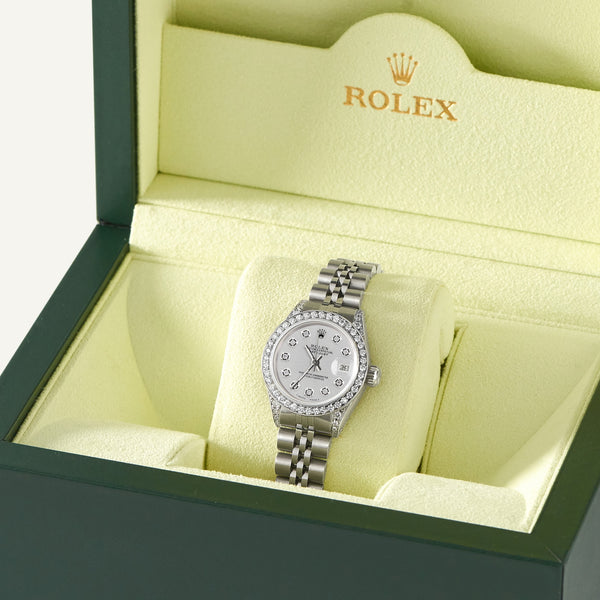 Rolex Datejust 26mm Steel Jubilee Diamond Watch w/Silver Dial