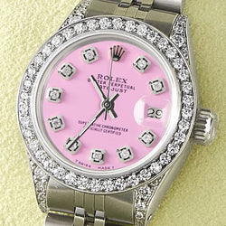 Rolex Datejust 26mm Steel Jubilee Diamond Watch w/Pastel Pink Dial