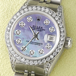 Rolex Datejust 26mm Steel Jubilee Diamond Watch w/Purple MOP Dial