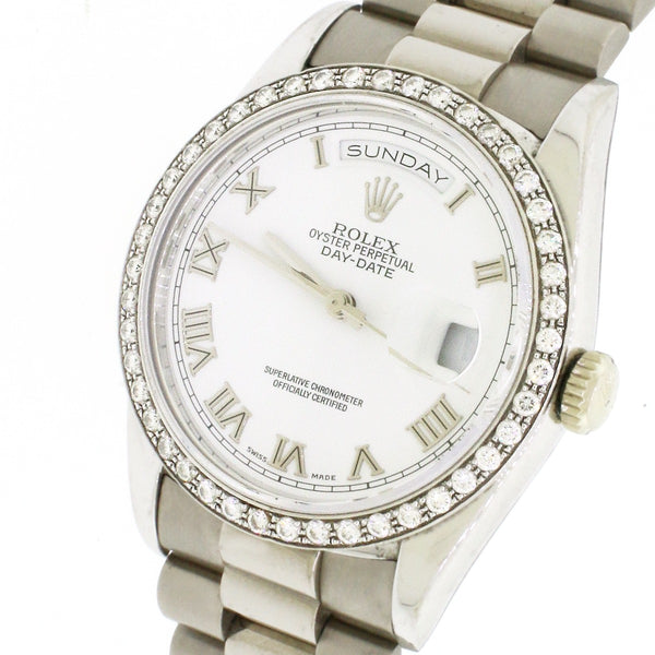 Rolex Day-Date Double Quick White Gold 36mm White Roman Dial 18239