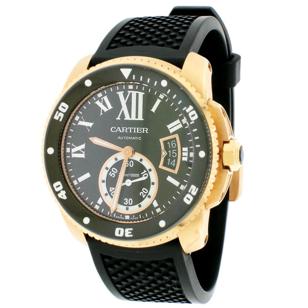 Calibre de Cartier Black/Rose Gold Divers Roman Dial 42mm Watch