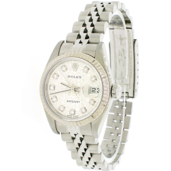Rolex Datejust 26mm White Gold/Steel Diamond Jubilee Silver Dial 79174 Box Papers