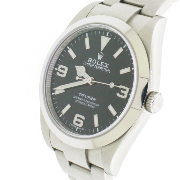 Rolex Explorer 39mm Steel Watch Black Dial 214270 Box Papers
