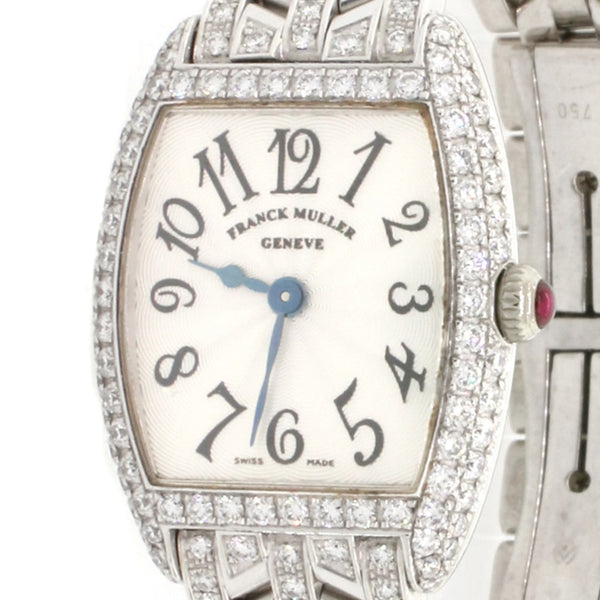 Franck Muller Cintree Curvex 18K White Gold Factory Diamond Bezel/Bracelet Silver Dial 22MM Ladies Watch 2251QZD