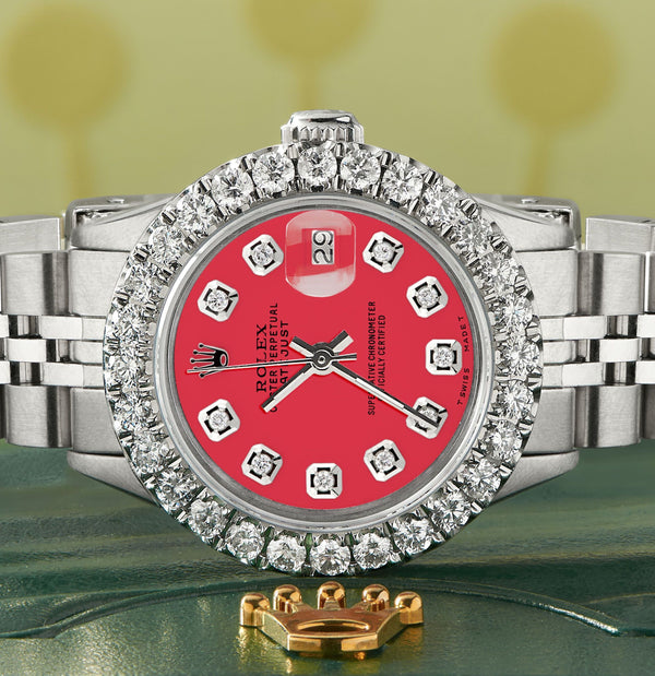 Rolex Datejust Steel 26mm Jubilee Watch 2CT Diamond Bezel / Scarlet Red Dial