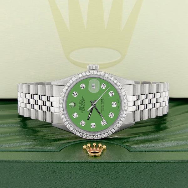Rolex Datejust Steel 36mm Jubilee Watch 1.1CT Diamond Bezel/Money Green Dial