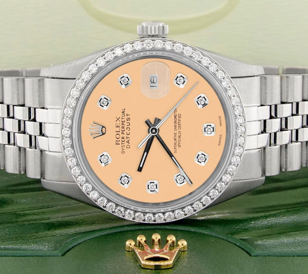 Rolex Datejust Steel 36mm Jubilee Watch/1.1CT Diamond Bezel/Mustard Dial