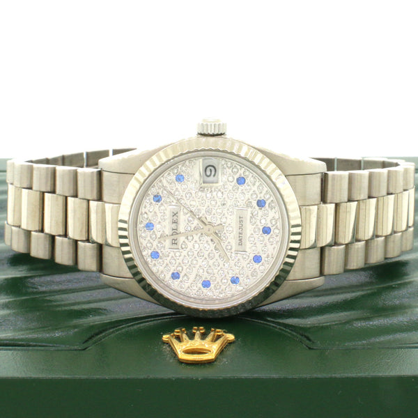 Rolex President Datejust Midsize 18K White Gold 31MM Automatic Watch Pave Diamond Dial 68279