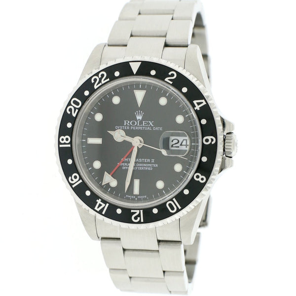 Rolex GMT-Master II Black Bezel 40MM Automatic Stainless Steel Mens Oyster Watch 16710