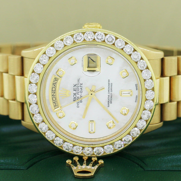 Rolex President Day-Date 18K Gold 36MM w/MOP Diamond Dial and 4Ct Diamond Bezel