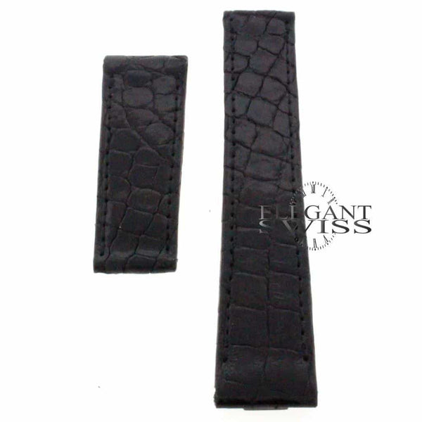 Genuine Cartier Crocodile 18.5mm Shiny Black Leather Strap KD1LZE24