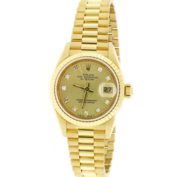 Rolex President Datejust Factory Diamond Dial Yellow Gold 26mm Watch 69178