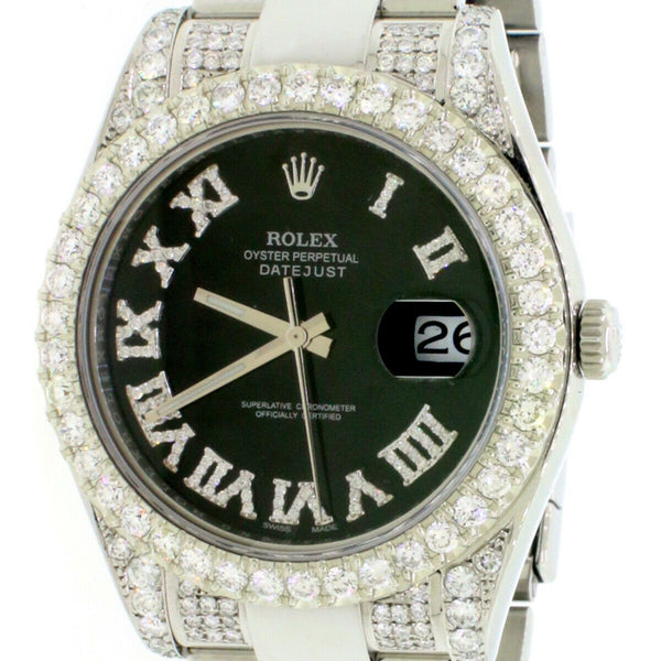 Rolex Datejust II 41mm Steel Watch 7.63CT Diamond 116300 Box Papers