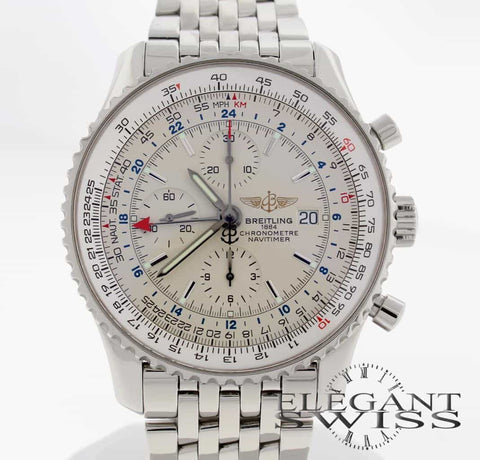 Breitling Navitimer World GMT Chronograph 46MM Stainless Steel Automatic Mens Watch A24322