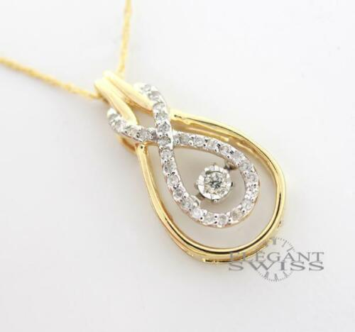Ladies 14K Yellow Gold 0.18 Ct Diamond Pendant & 14K Yellow Gold Necklace