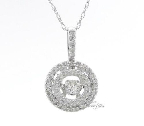 Ladies 14K White Gold 0.45 Ct Diamond Pendant & 14K White Gold Necklace