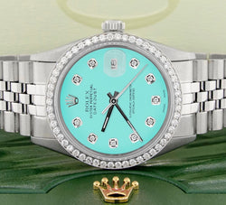 Rolex Datejust Steel 36mm Jubilee Watch Diamond Bezel & Matt Turquoise Dial