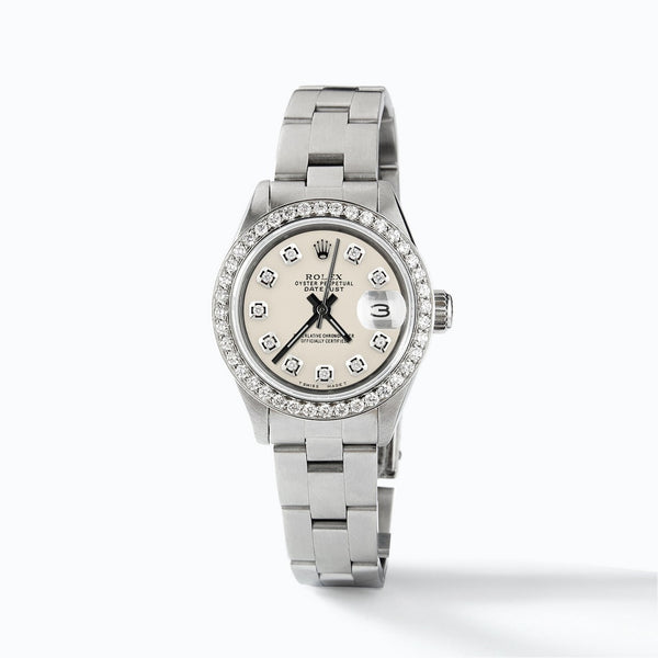 Rolex Datejust Ladies Automatic Stainless Steel 26mm Oyster Watch w/Ivory Dial & Diamond Bezel