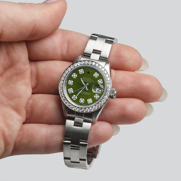 Rolex Datejust Ladies Automatic Stainless Steel 26mm Oyster Watch w/Chartreuse Green Dial & Diamond Bezel