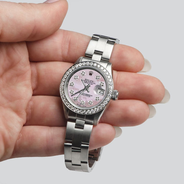 Rolex Datejust Ladies Automatic Stainless Steel 26mm Oyster Watch w/Pink MOP Dial & Diamond Bezel
