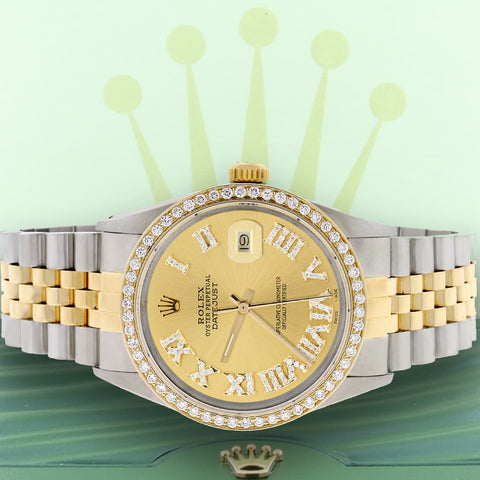 Rolex Datejust 2-Tone 18K Gold/SS 36mm Automatic Jubilee Watch with Champagne Roman Diamond Dial & Bezel