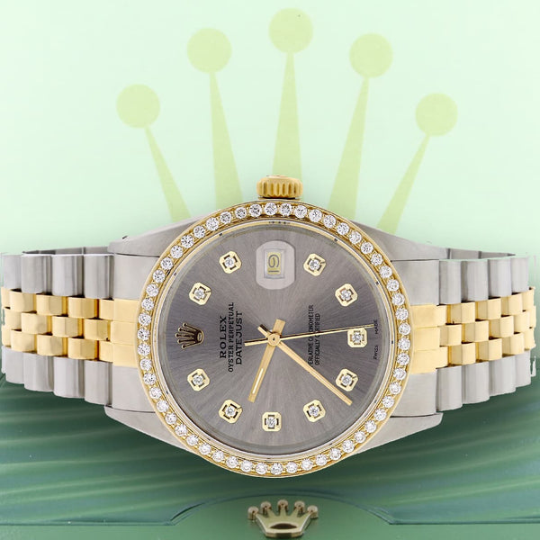 Rolex Datejust 2-Tone 18K Gold/SS 36mm Automatic Jubilee Watch with Rhodium Diamond Dial & Bezel