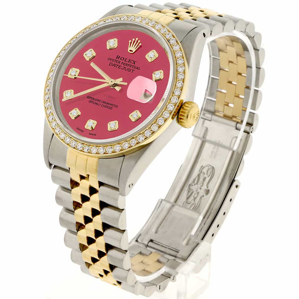 Rolex Datejust 2-Tone 18K Gold/SS 36mm Automatic Jubilee Watch with Hot Pink Diamond Dial & Bezel