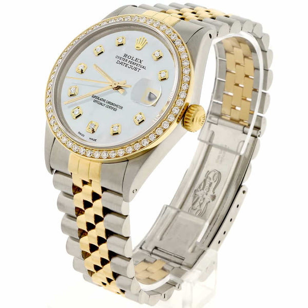 Rolex Datejust 2-Tone 18K Gold/SS 36mm Automatic Jubilee Watch with MOP Diamond Dial & Bezel
