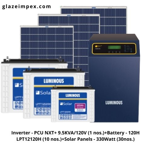 9KVA Off-grid Solar System - PCU NXT+ 9.5KVA Inverter With Battery 120H and 330W Panel