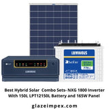 Best Hybrid Solar  Combo Sets- NXG 1800 Inverter With 150L LPT12150L Battery and 165W Panel