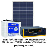 Best Solar Combo Pack - NXG 1100 Inverter with 200H Battery LPT12200H and also 165W Solar Panel