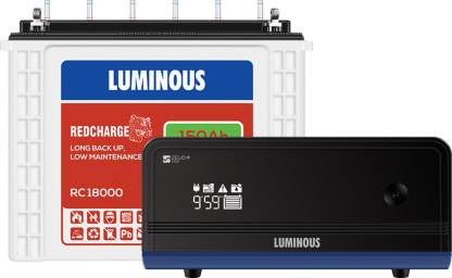 Combo Pack Luminous Zelio 1100 Sine Wave Inverter + RC18000 150Ah Battery