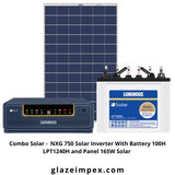 Combo Solar -  NXG 750 Solar Inverter With Battery 100H LPT12100H and Panel 165W Solar