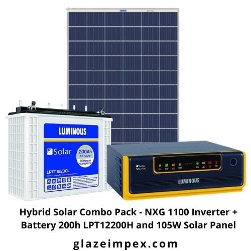 Hybrid Solar Combo Pack - NXG 1100 Inverter + Battery 200h LPT12200H and 105W Solar Panel