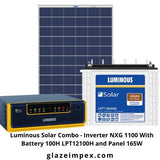 Luminous Solar Combo - Inverter NXG 1100 With Battery 100H LPT12100H and Panel 165W
