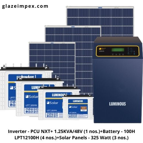 Buy Online Luminous 1k Off-grid Solar System- Solar Inverter ,Battery, Panel at glazeimpex