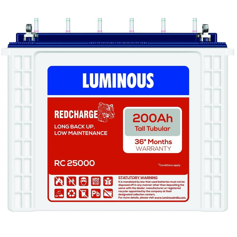 Luminous 200Ah Rc 25000 battery Tubular Battery