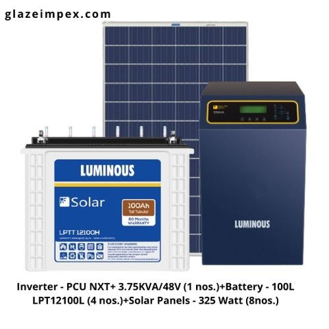 Luminous 3KVA solar Off-Grid system with Solar Inverter, battery and Panel In India
