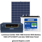 Luminous Combo- NXG 1400 Inverter With Battery 150H LPT12150HTT and also 165W Solar Panel