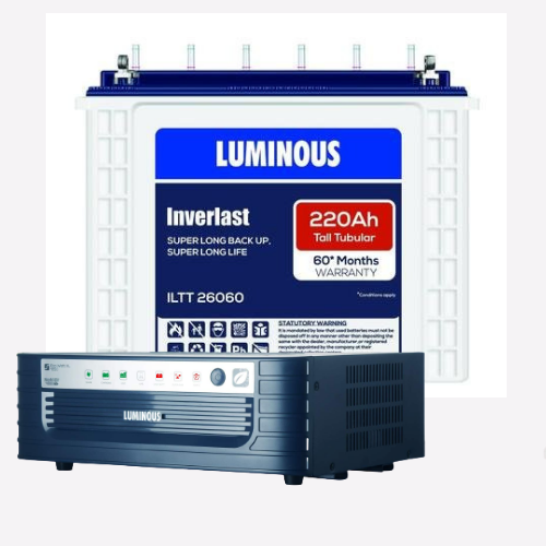 Luminous Eco Watt Xl Rapid 1650 Inverter & Battery 220Ah ILTT 26060 Tall Tubular