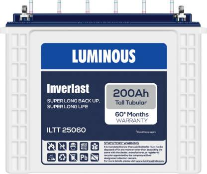 Luminous  Inverlast Battery 200 Ah - ILTT25060 Tall Tubular